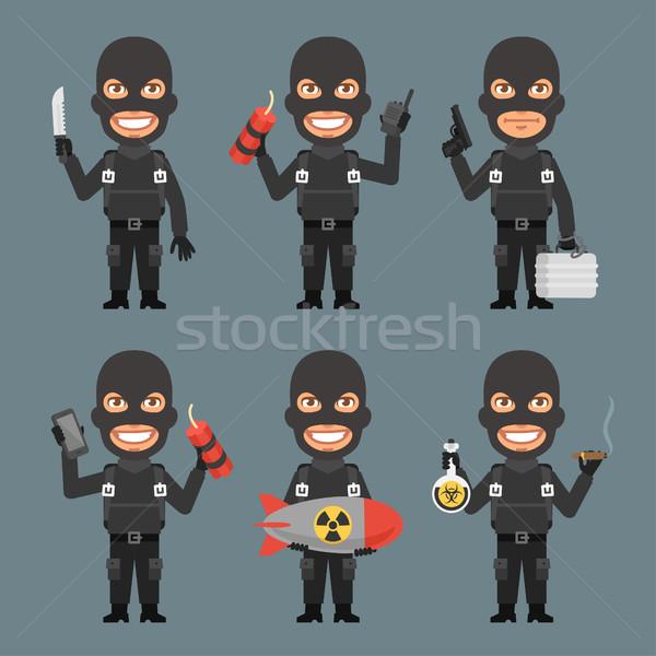 Robber Holds Weapons Suitcase Bomb Stock photo © yuriytsirkunov