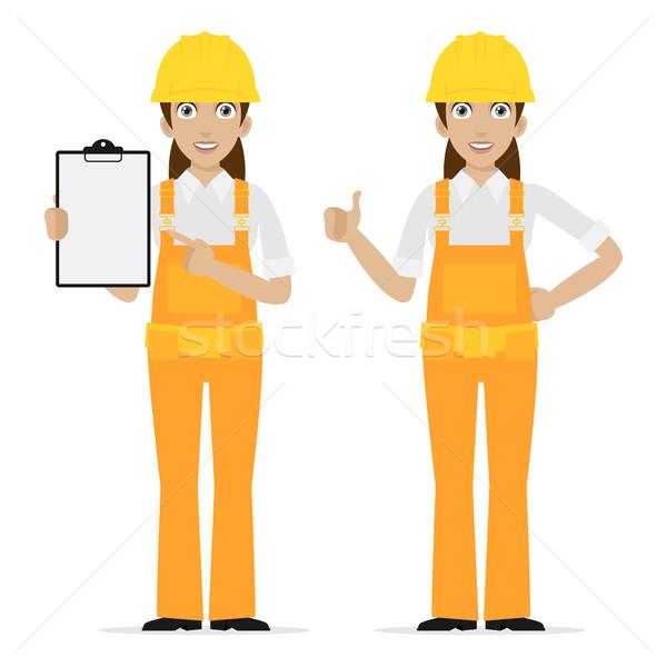 Construtor mulher ilustração formato Foto stock © yuriytsirkunov
