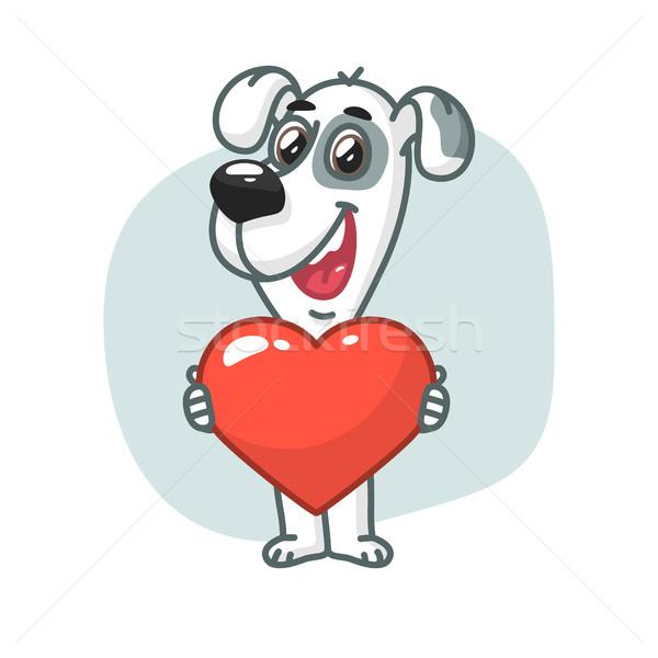 Köpek kalp gülen format eps Stok fotoğraf © yuriytsirkunov