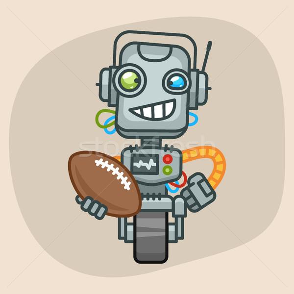 Robot Holds Ball American Football Stock photo © yuriytsirkunov