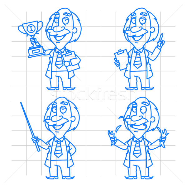 Stock photo: Professor doodle concept set 1