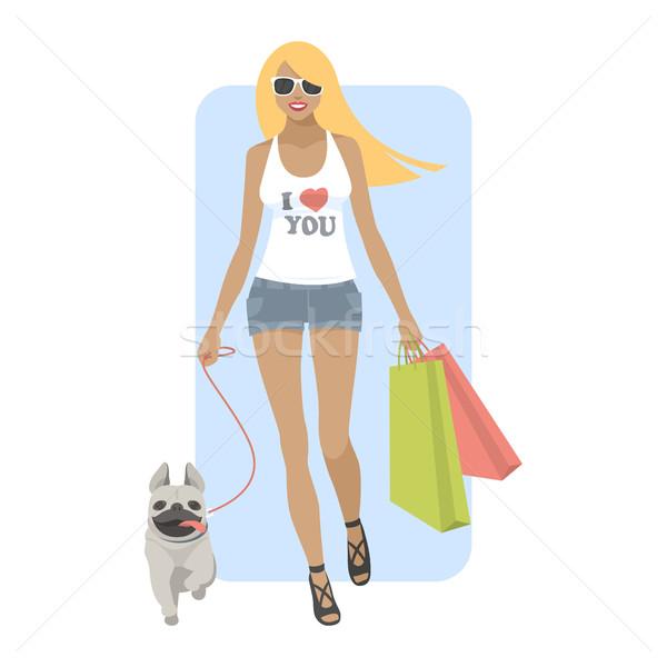 Genç kadın yürüyüş köpek örnek format eps Stok fotoğraf © yuriytsirkunov