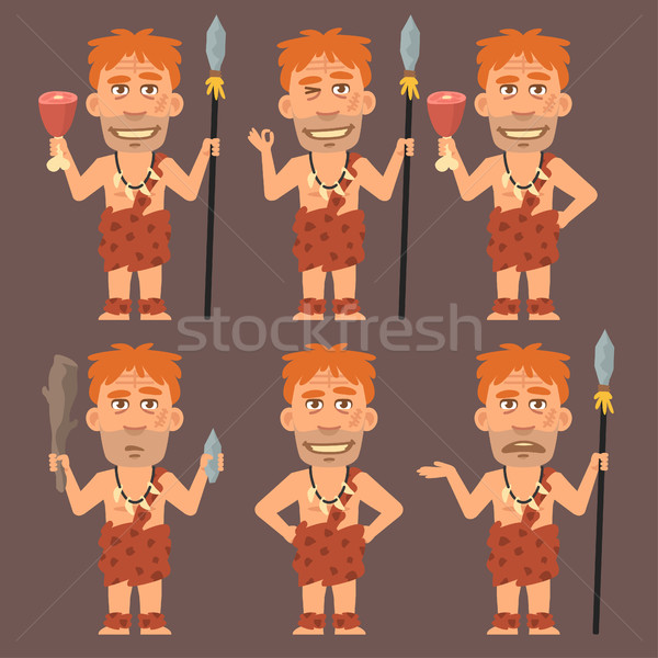 Neanderthal Holds Meat and Weapons Stock photo © yuriytsirkunov