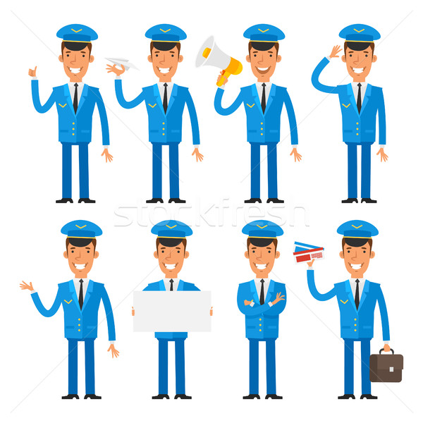 Vector Illustration, Pilot in different poses, format EPS 10 Stock photo © yuriytsirkunov