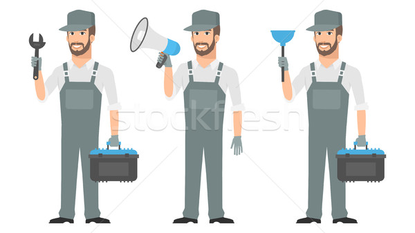 Repairman holding tools wrench megaphone plunger Stock photo © yuriytsirkunov