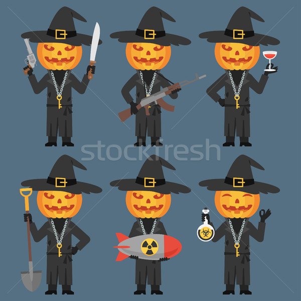 Pumpkin Holds Weapons Machetes Shovel Poison Bomb Stock photo © yuriytsirkunov