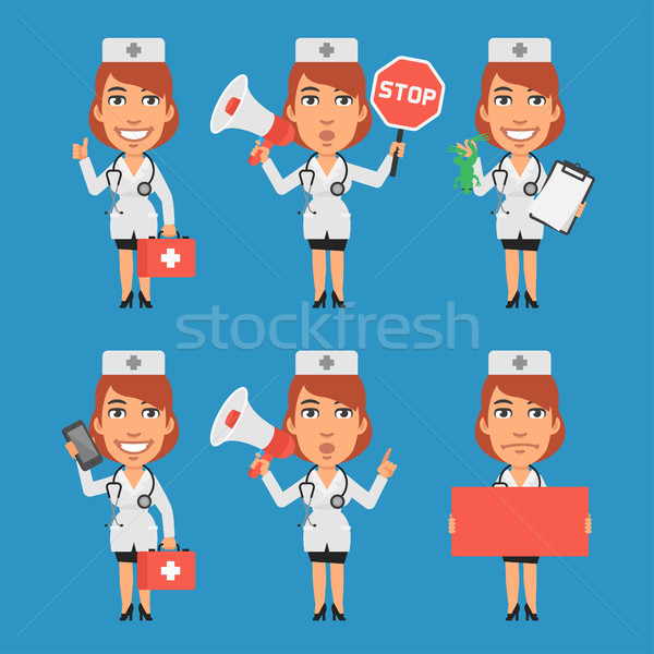 Mulher médico megafone sinal de parada papel telefone Foto stock © yuriytsirkunov