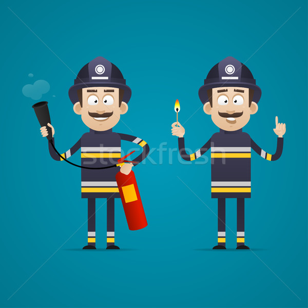 Fireman holds fire extinguisher and burning match Stock photo © yuriytsirkunov