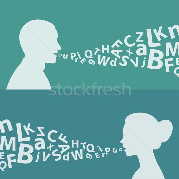 Homem mulher cartas ilustração formato eps Foto stock © yuriytsirkunov