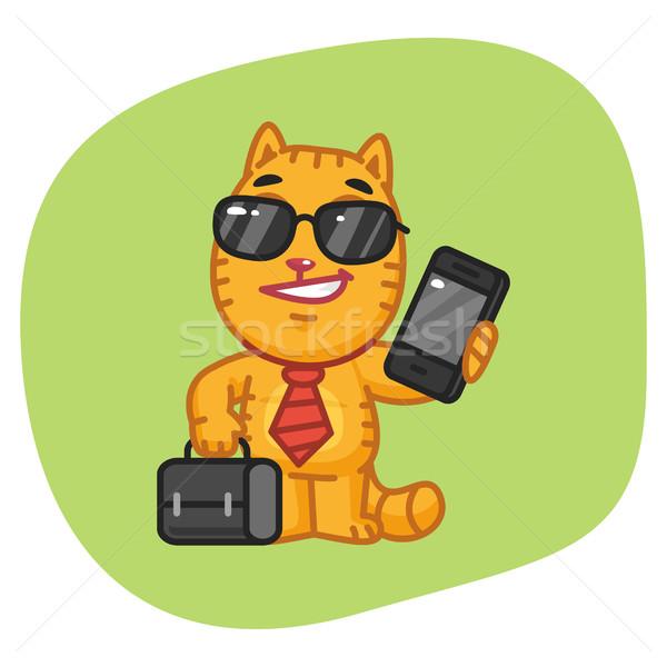 猫 ビジネスマン スーツケース 電話 フォーマット ストックフォト © yuriytsirkunov