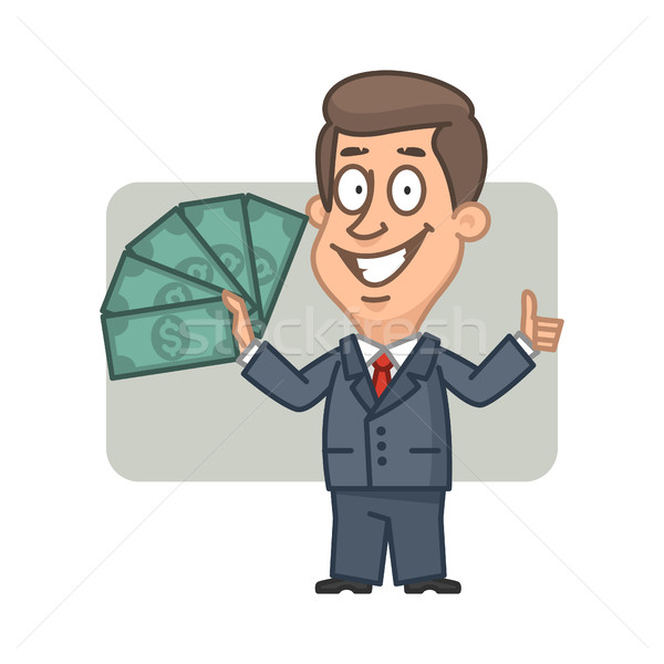 Zakenman geld tonen illustratie Stockfoto © yuriytsirkunov