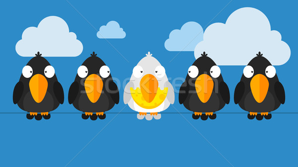 Concept crows sitting on wire Stock photo © yuriytsirkunov