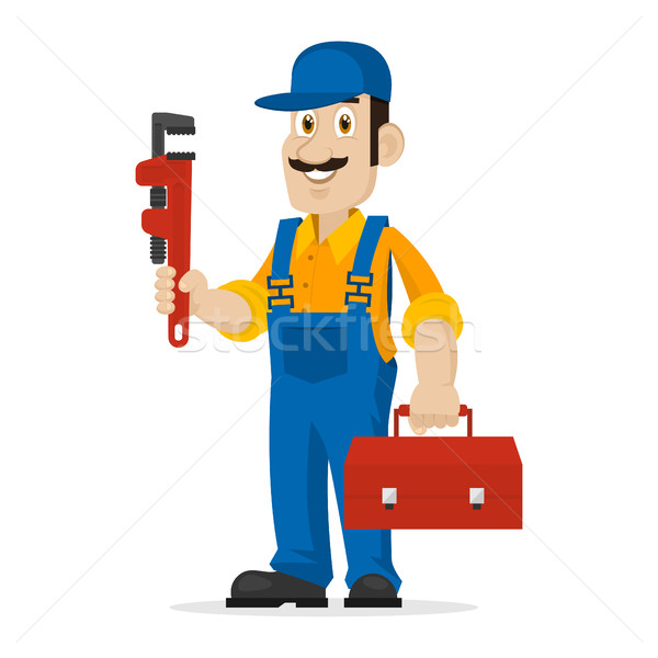 Plumber holds an adjustable spanner and suitcase Stock photo © yuriytsirkunov