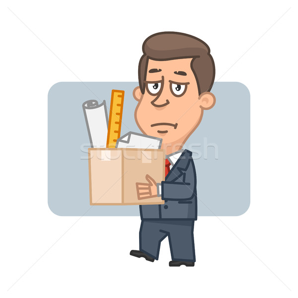 Character businessman holding box with things Stock photo © yuriytsirkunov