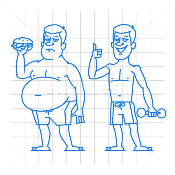 Stockfoto: Dun · man · doodle · illustratie · formaat