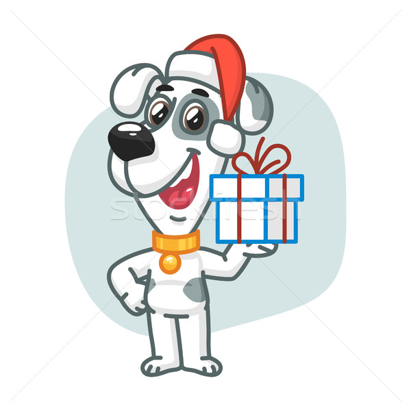 Dog Holding Christmas Gift Stock photo © yuriytsirkunov