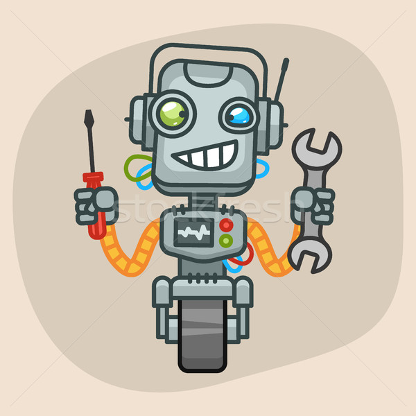 Robot sleutel schroevendraaier formaat eps Stockfoto © yuriytsirkunov