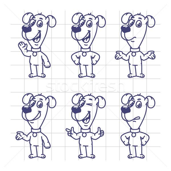 Sketch Set Characters Dog Shows and Indicates Stock photo © yuriytsirkunov