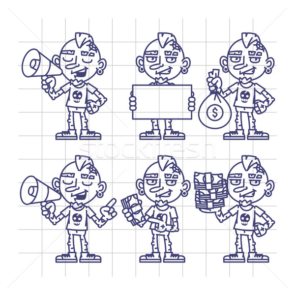 Sketch Set Character Tattoo Artist Holding Megaphone Money Paper Stock photo © yuriytsirkunov