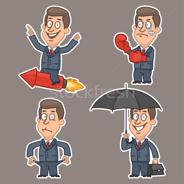 Empresário adesivos ilustração formato eps Foto stock © yuriytsirkunov