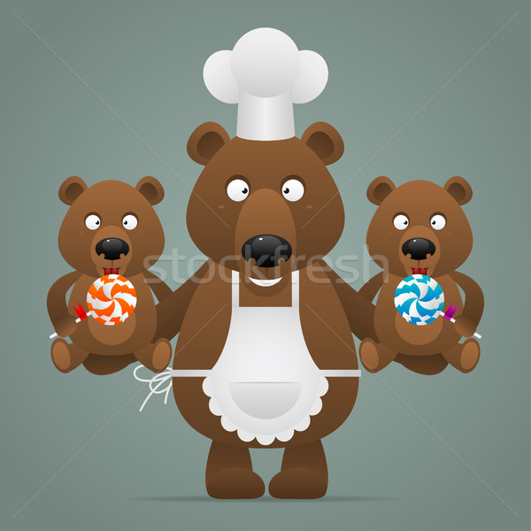 Concept chef bear with cubs Stock photo © yuriytsirkunov