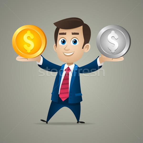 Empresário comprar ouro prata ilustração formato Foto stock © yuriytsirkunov