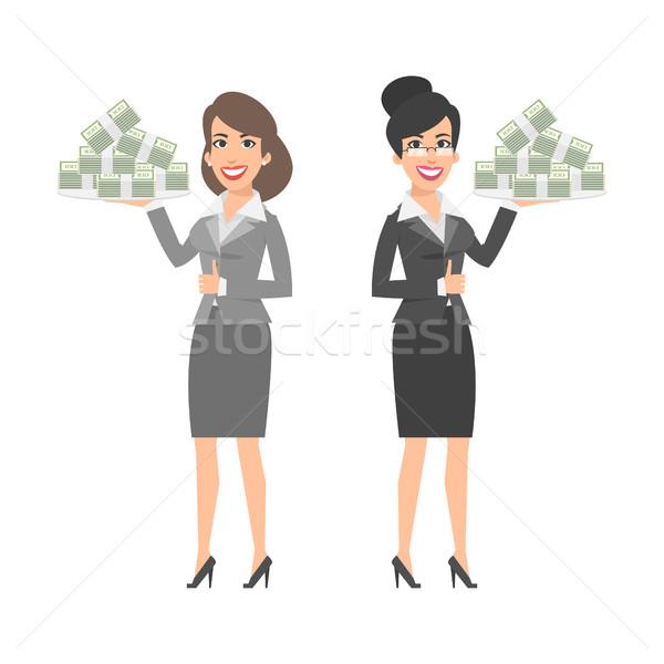 Twee onderneemsters dienblad geld illustratie Stockfoto © yuriytsirkunov