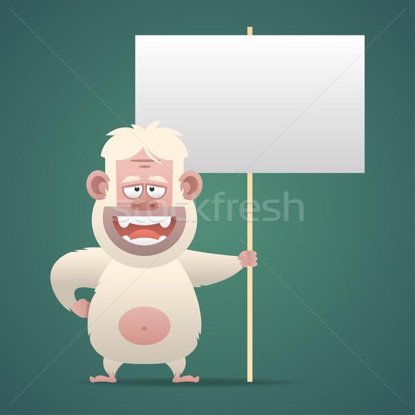 Yeti character holds empty banner sign Stock photo © yuriytsirkunov
