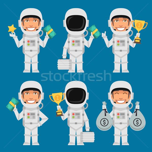 Astronaut Holding Suitcase Money Cup Stock photo © yuriytsirkunov