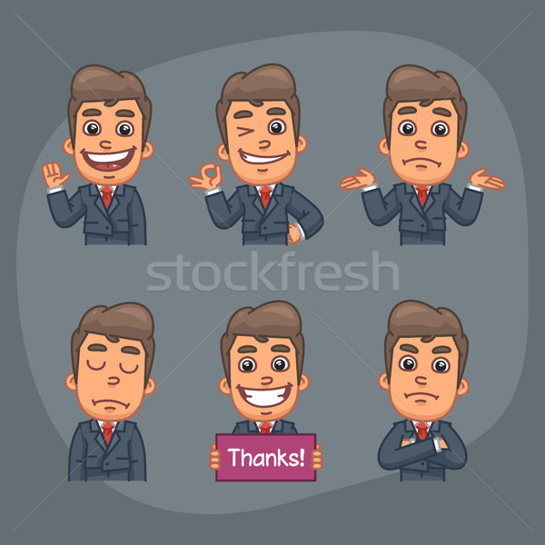 Stock photo: Businessman Set of 6 Poses Stickers Pack Part 2