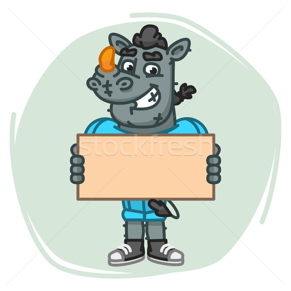 Rhino Football Player Holds Blank Sheet Paper Stock photo © yuriytsirkunov