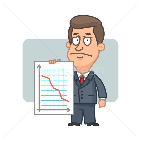 Karakter üzletember tart grafikon összeomlás illusztráció Stock fotó © yuriytsirkunov