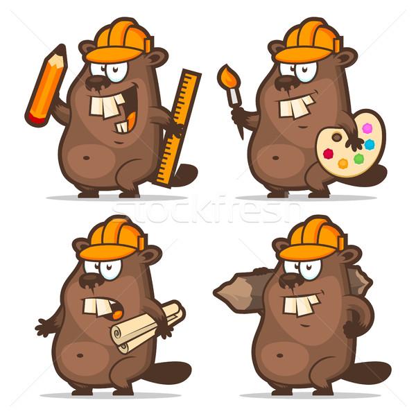 Beaver designer painter engineer builder Stock photo © yuriytsirkunov