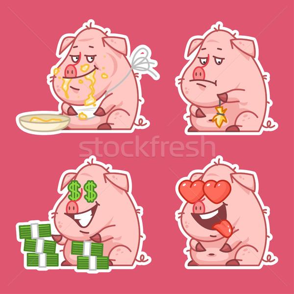 Varken karakter stickers ingesteld illustratie formaat Stockfoto © yuriytsirkunov