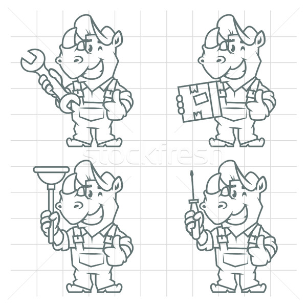 Set character rhinoceros doodle Stock photo © yuriytsirkunov