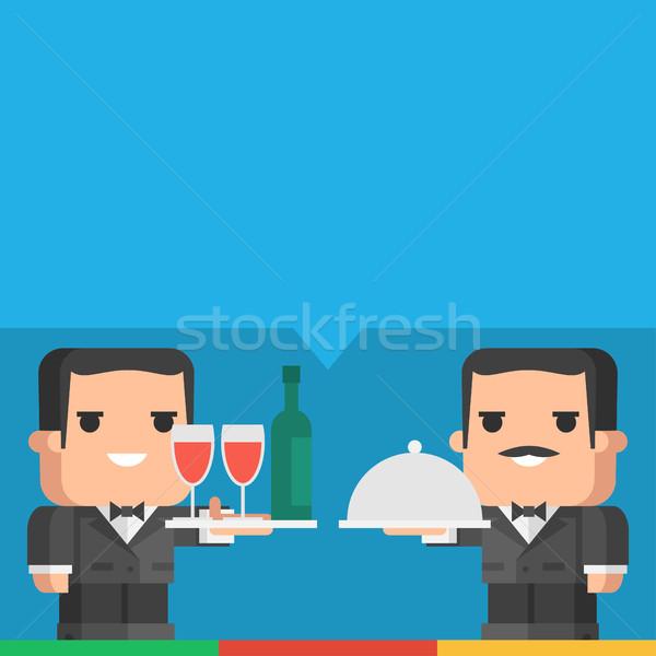 Garson tepsi içecekler yemek örnek Stok fotoğraf © yuriytsirkunov