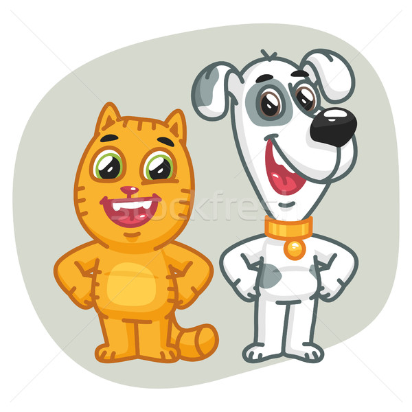 Cat and Dog Holding Paws at Waist Stock photo © yuriytsirkunov