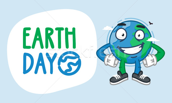 Earth Day Earth Character Holding Hands on Waist and Smiling Stock photo © yuriytsirkunov