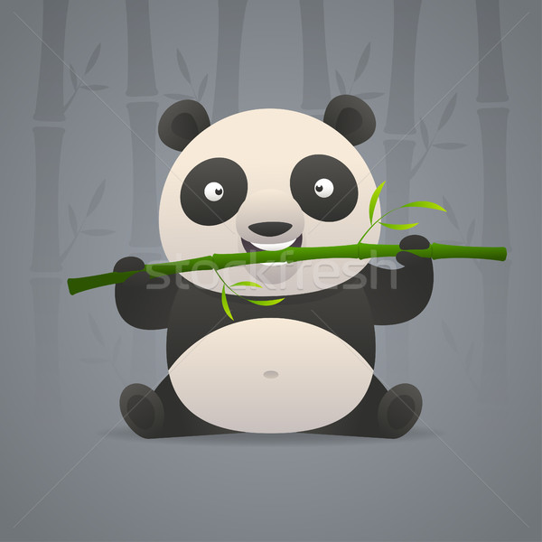 Cute panda gnaws bamboo Stock photo © yuriytsirkunov