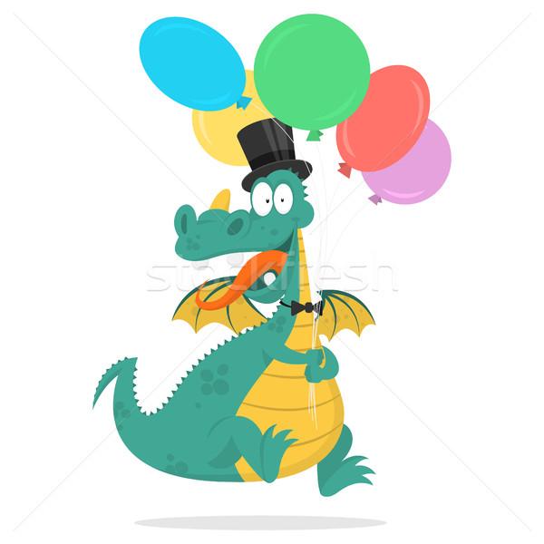 Cheerful dragon holds in hands balloons Stock photo © yuriytsirkunov