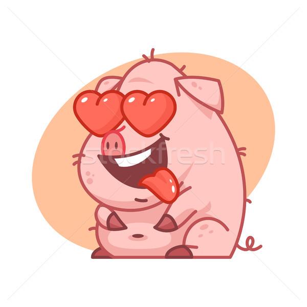 свинья характер любви иллюстрация формат прибыль на акцию Сток-фото © yuriytsirkunov