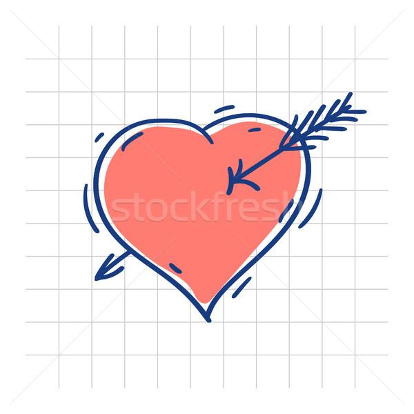 Kalp ok karalama kroki sevmek Stok fotoğraf © yuriytsirkunov