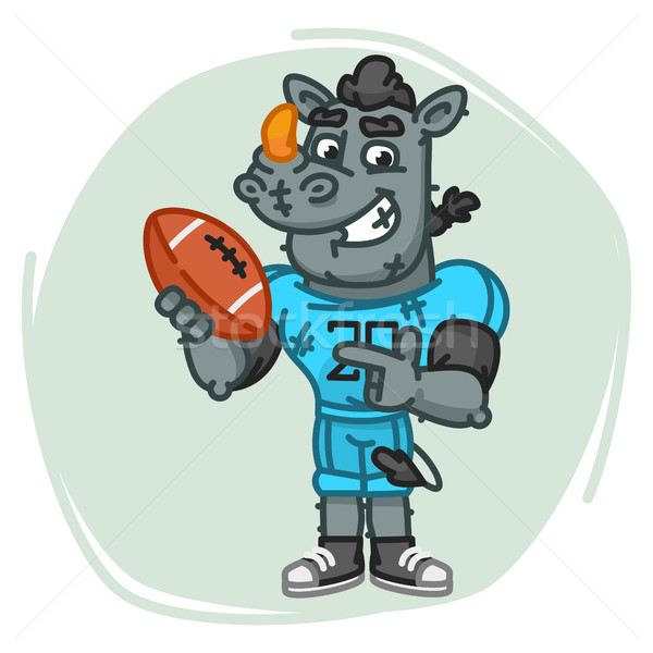 Rhino Football Player Points on Ball Stock photo © yuriytsirkunov