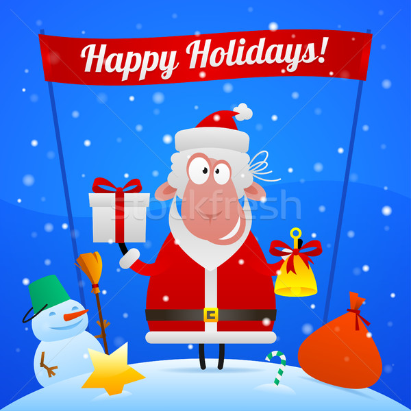 Sheep Santa Claus holiday illustration Stock photo © yuriytsirkunov