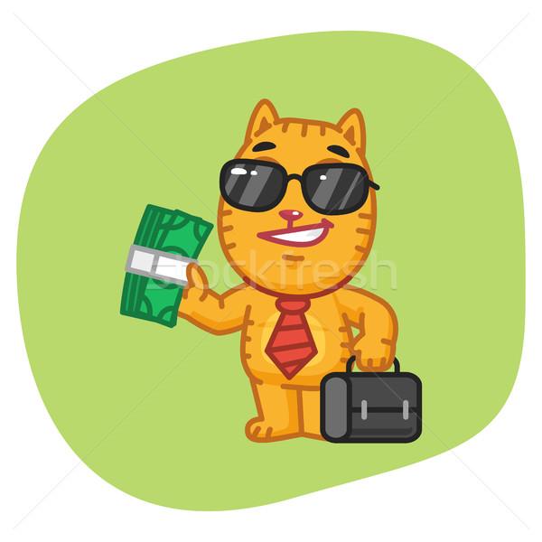 Kedi işadamı bavul para format Stok fotoğraf © yuriytsirkunov