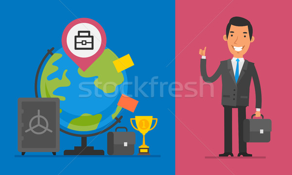 ビジネス ビジネスマン ブリーフケース 親指 ストックフォト © yuriytsirkunov