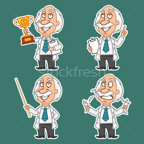 Professor in various poses set stickers 1 Stock photo © yuriytsirkunov