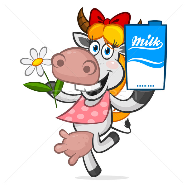 Cheerful cow holding carton of milk Stock photo © yuriytsirkunov