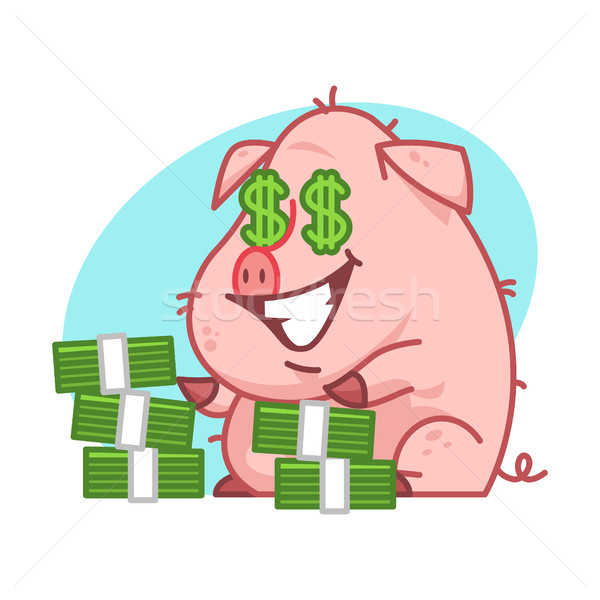 свинья характер деньги иллюстрация формат прибыль на акцию Сток-фото © yuriytsirkunov