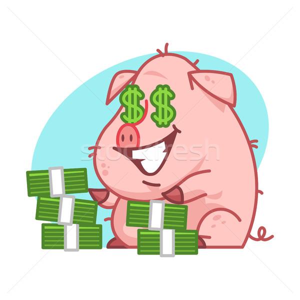 Pig character and lot of money Stock photo © yuriytsirkunov